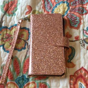 Rose Gold IPhone 7/8 Plus Glitter Case/ Wallet